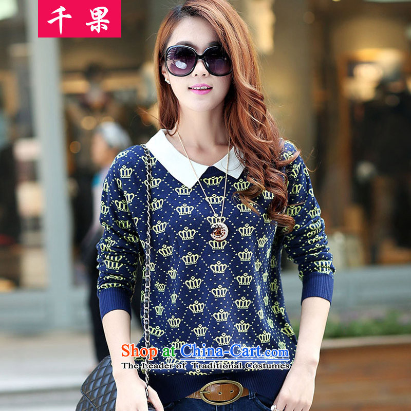 The results of the2015 to increase the number of women in the Korean version of the mm thick wool jumper knitwear autumn and winter video thin large relaxd long-sleeved top coat 2150 Bluearound 922.747 XXXL/165-190 Wong Crown
