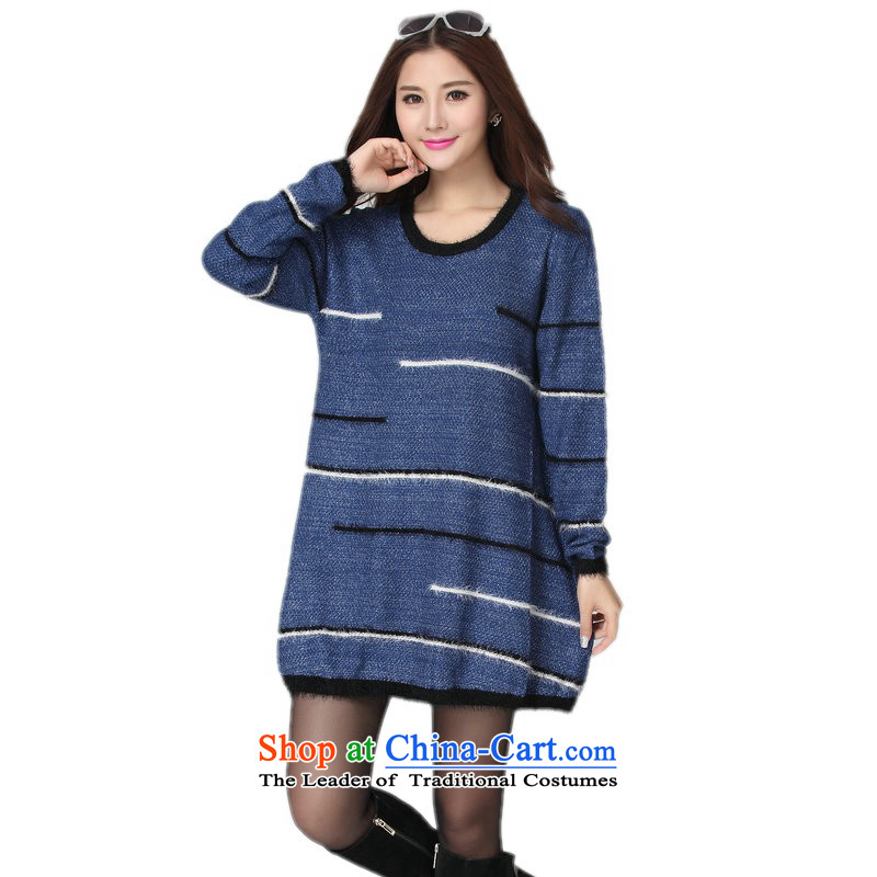 The land is still of the Yi plus obesity mm sweater Korean autumn and winter load long-sleeved T-shirt with round collar knitting video thin xl skirt wear shirts female cheongsams video thin blue shirt and women are suitable for 130-180 code catty