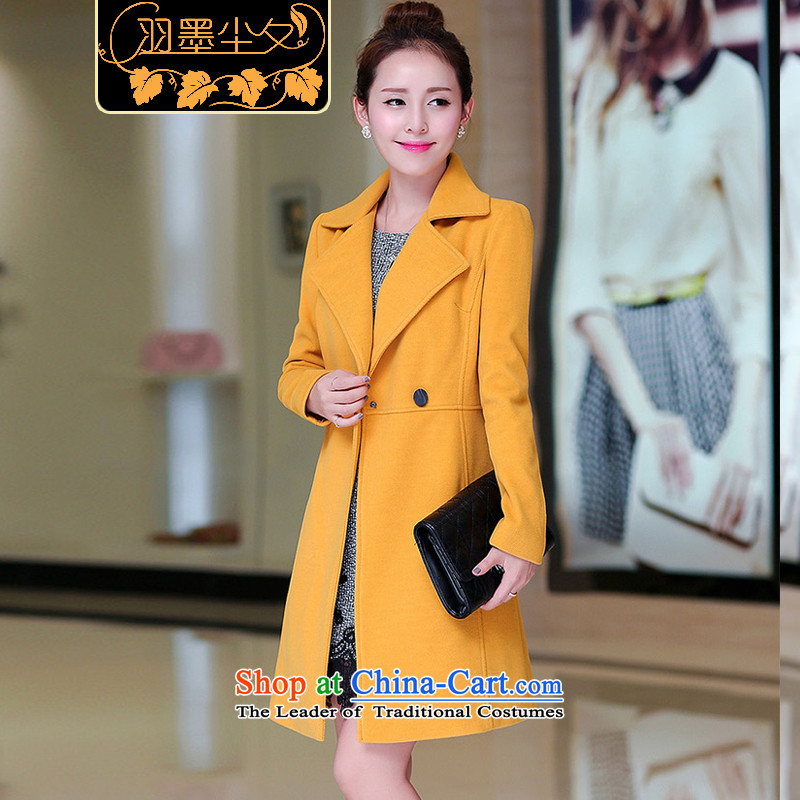 Yu ink dust overnight in early spring 2015, the new stylish boutique OL?   in gross jacket long wool a wool coatU2836YELLOWXXL