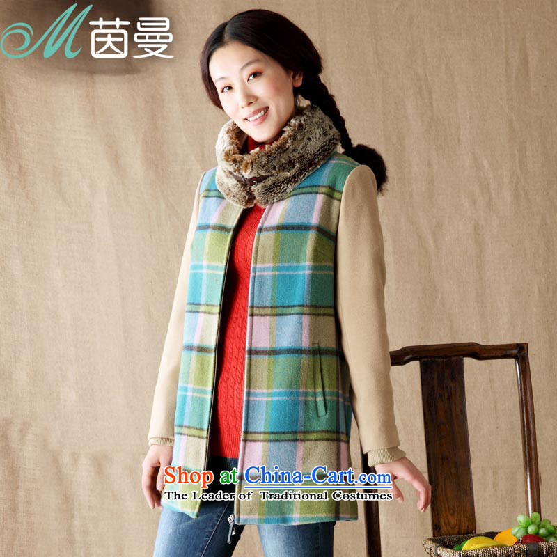 Athena Chu Cayman 2013 winter new commuter arts long-sleeved jacket with tartan 8343200802 _A- flower green燣