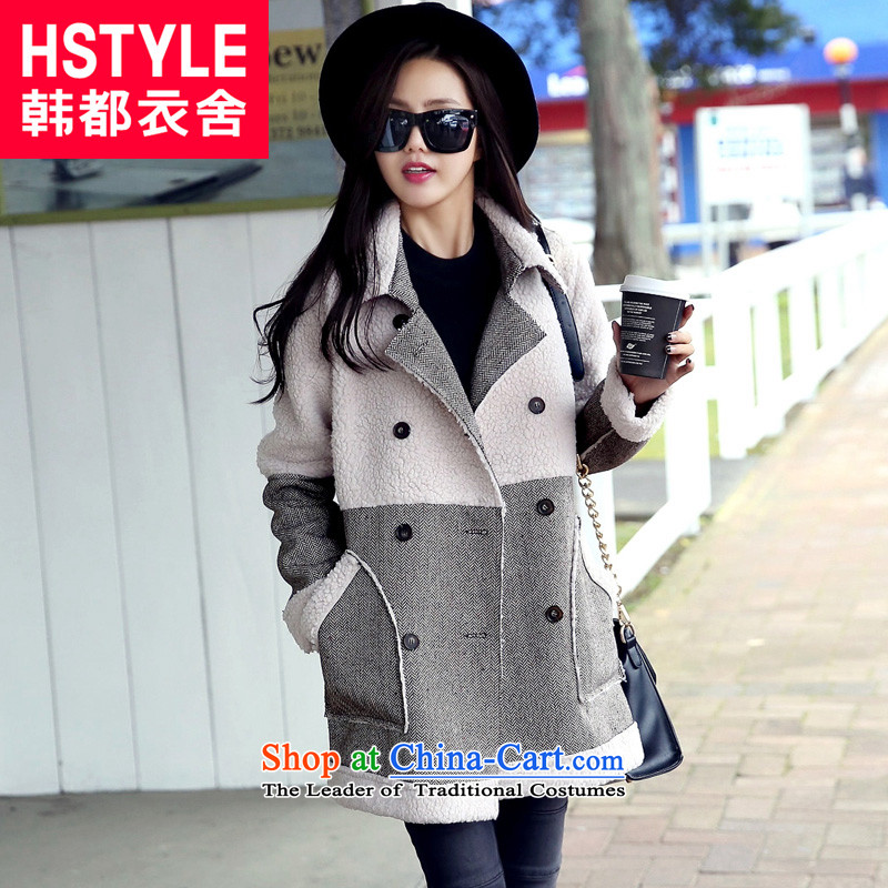 Korea has the Korean version of the Dag Hammarskj鰈d yi 2015 winter clothing new for women in the stitching long hair?6爉 white jacket NJ3242燣