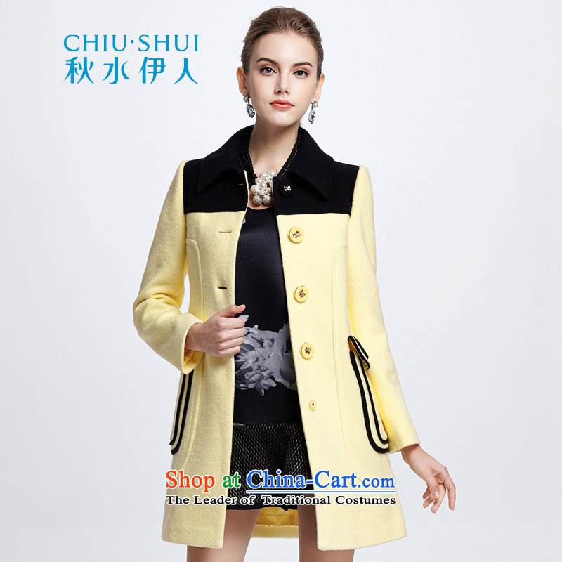 Chaplain who winter clothing new stylish color large pockets of the plane collision with a straight-overcoat female�4112116牋170_XL Light Yellow
