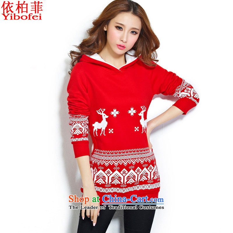 In accordance with the 2015 autumn perfect for the new version of the greater number of Korean women's stamp Sorok. long shot down thick students sweater Y222 Red L