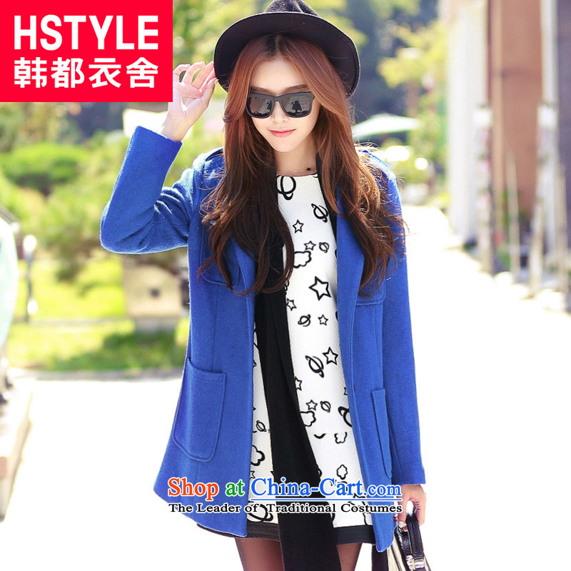 Korea has the Korean version of the Dag Hammarskj鰈d yi 2015 winter clothing new women's warm solid color graphics thin coat RW3380 gross? Tsat blue燣