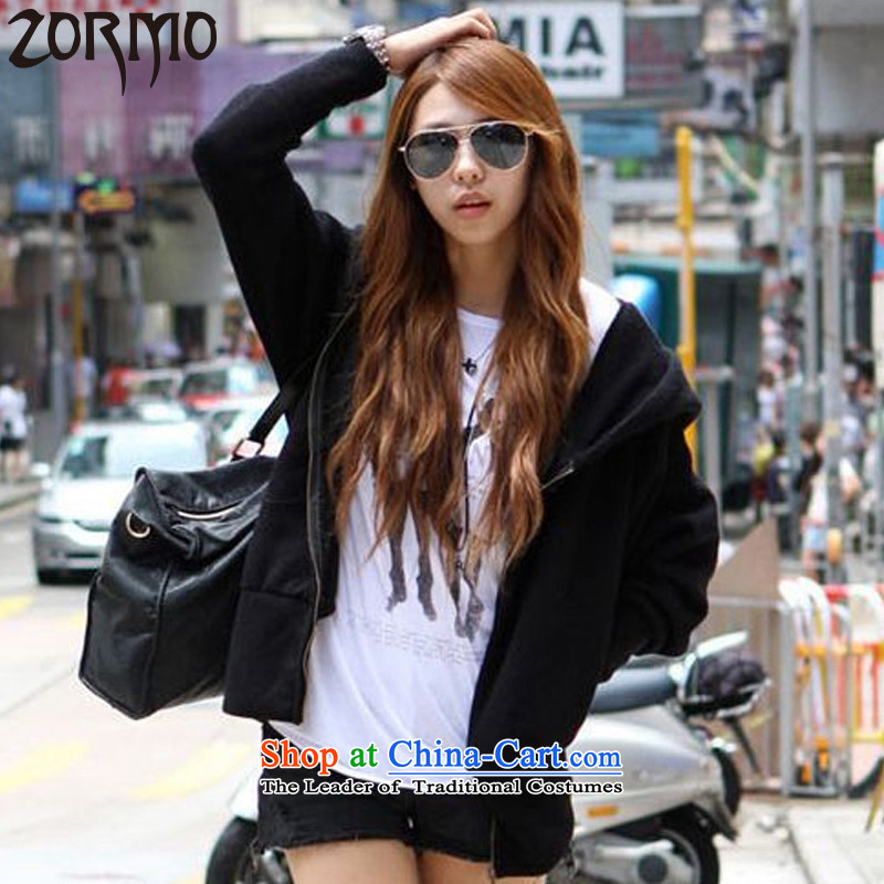 The Korean version of the female ZORMO autumn and winter, thick mm larger jacket leisure cap girls cotton knit shirts Black XL 110-125 catty