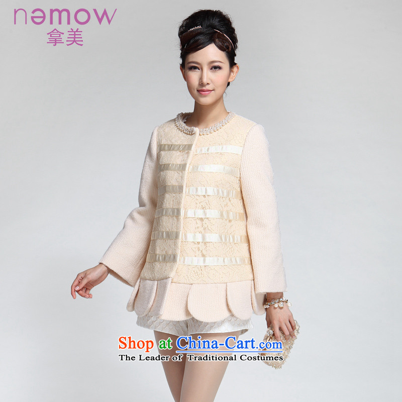 Take the us dream of the 2014 autumn and winter South New petals under the streaks stitching gross overcoats EA4G156? Light yellow 05 M