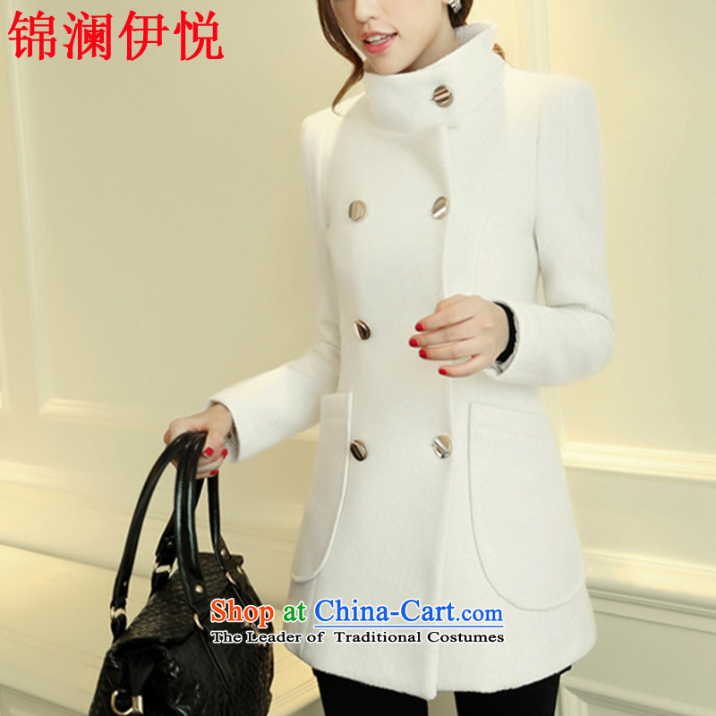 The world of Kam won the British Yuet-double-Sau San video thin temperament elegant suit coats m White winter wind jacket women small-Korean version of the new to the firs) White S