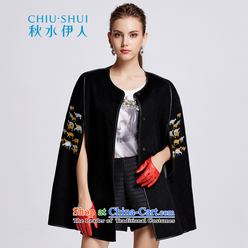 Chaplain who female elegant wild round-neck collar machine embroidery decorated cloak long coat�4112199牋155_S black
