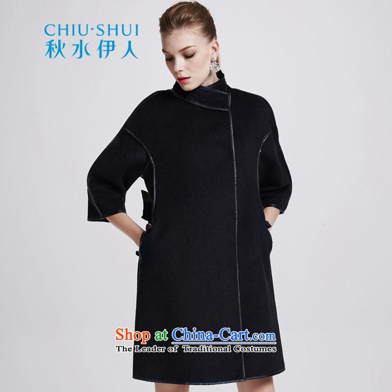 Chaplain who female elegant pure color wild PU package edges in cuff long coat�4112200牋165_L black