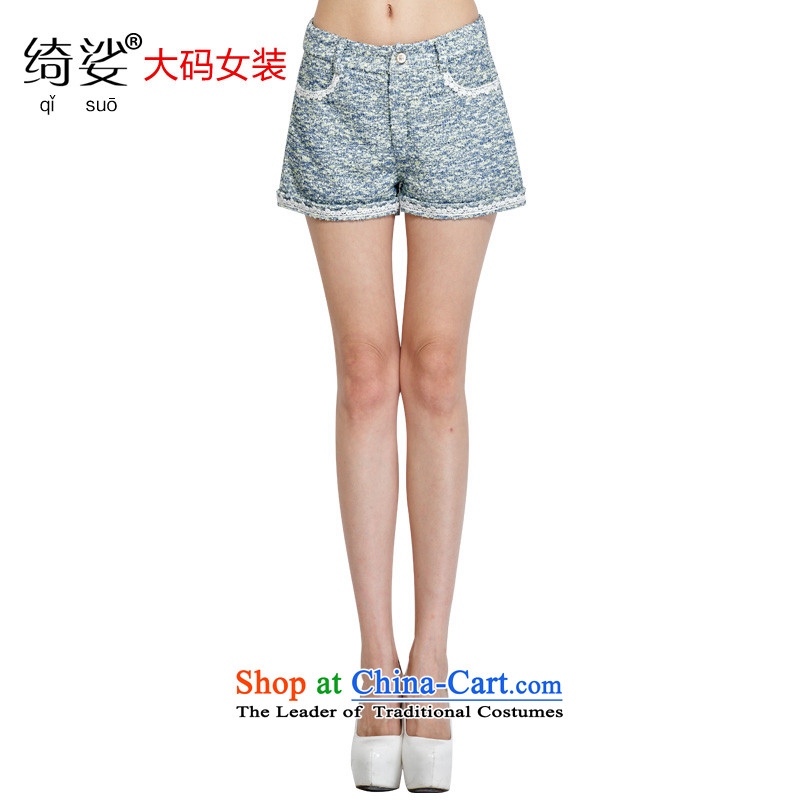 As provided for large female thick MM autumn and winter new western thick sister video thin large volume of knitted small shorts 2270 blue flowers 2XL