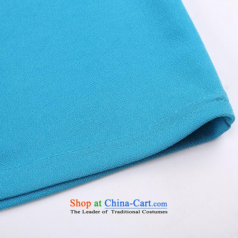 Shani flower lo xl female thick mm summer new 2014 minimalist neck shirt-sleeve t-shirt 6785 light blue聽4XL, shani flower sogni (D'oro) , , , shopping on the Internet
