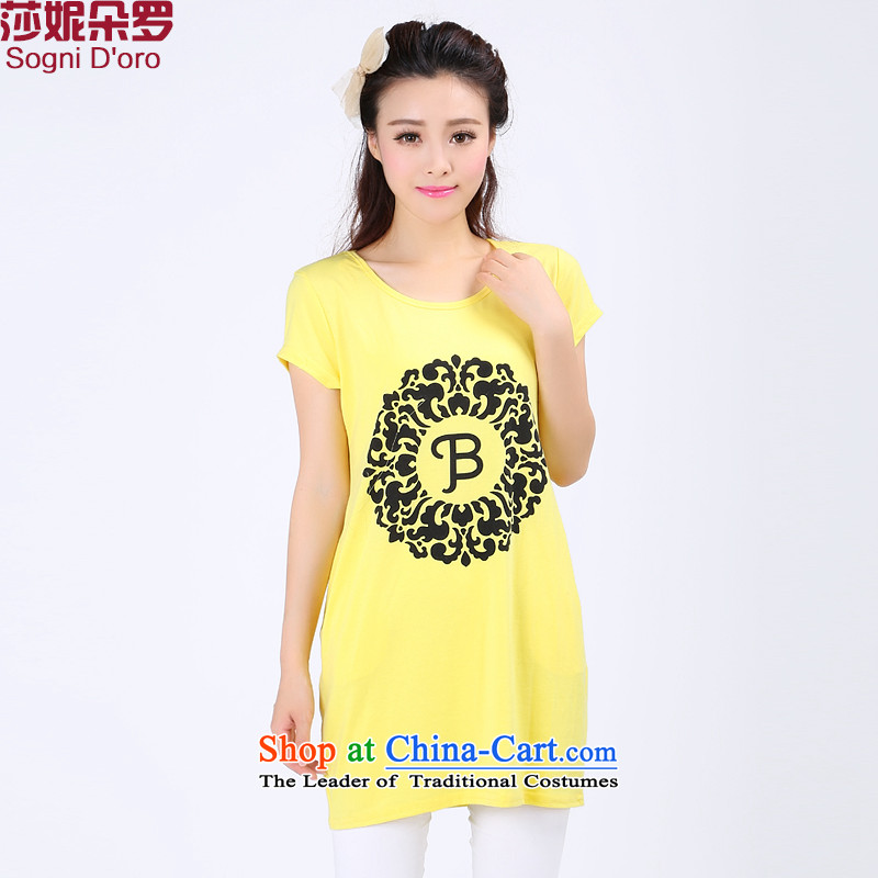 Shani flower lo xl female thick mm summer new minimalist 2014 round-neck collar short-sleeved T-shirt thin graphics leisure stamp t shirt 6743 3XL yellow