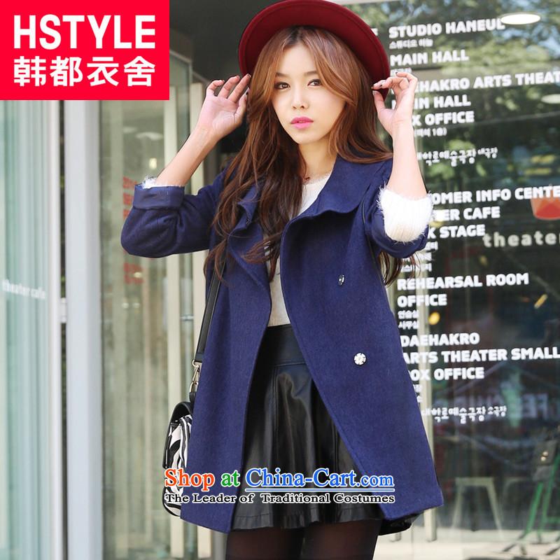 Korea has the Korean version of the Dag Hammarskjöld yi 2015 winter clothing new women's solid color Sau San stitching IG3497 jacket?(6) grossblueL