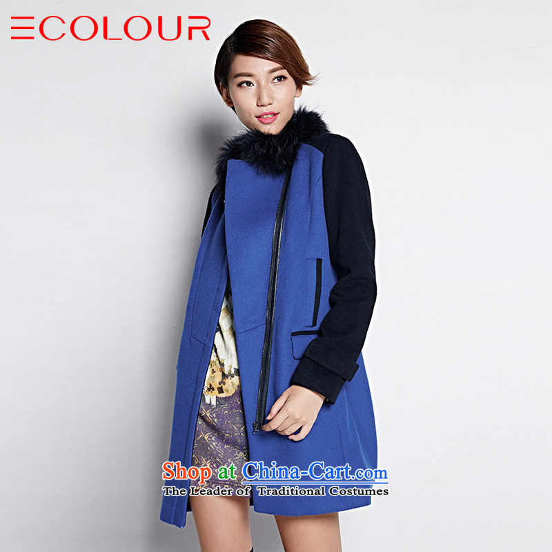 Tri-lai snow winter clothing bright colors for the Spell Checker to zip in decorated long coats female black and blue M/160/84a