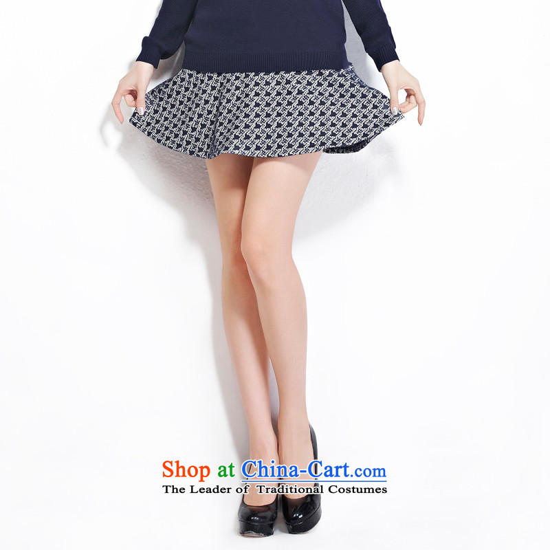 As provided for large female thick MM autumn and winter new plaid thick sister video thin billowy flounces body small short skirt No. 2279 Blue聽Cross-provisions (qisuo, L) , , , shopping on the Internet