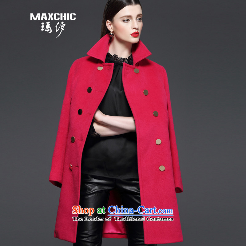 Marguerite Hsichih maxchic 2015 autumn and winter woolen coats female double-double-ming-bag lapel long-sleeved coats female 13562 gross? The Red XXL