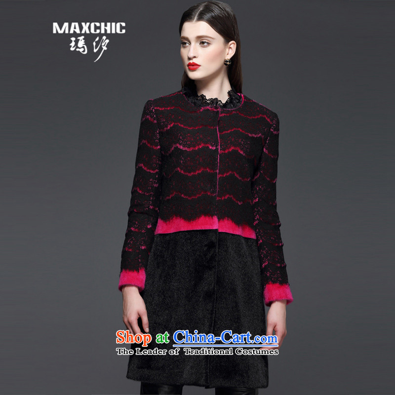 Marguerite Hsichih maxchic 2015 autumn and winter, long-sleeved jacket round-neck collar wool knocked color spell lace in long coats of $13322 Female better? red?XL