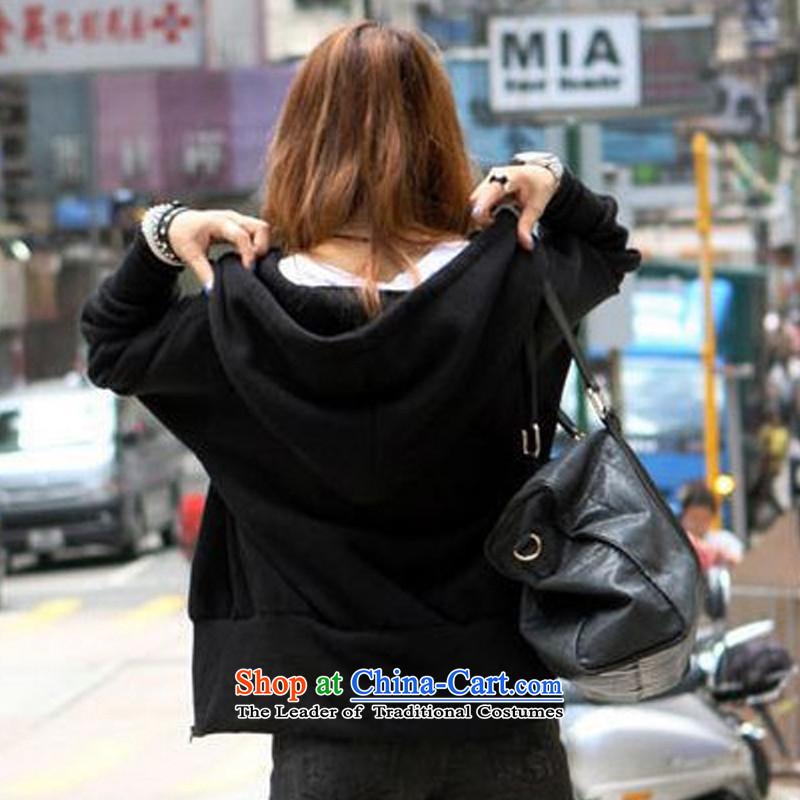 聽The Korean version of the female ZORMO autumn and winter, thick mm larger jacket girls leisure cap black shirts knitting聽XXXXL 160-185 catty ,ZORMO,,, shopping on the Internet