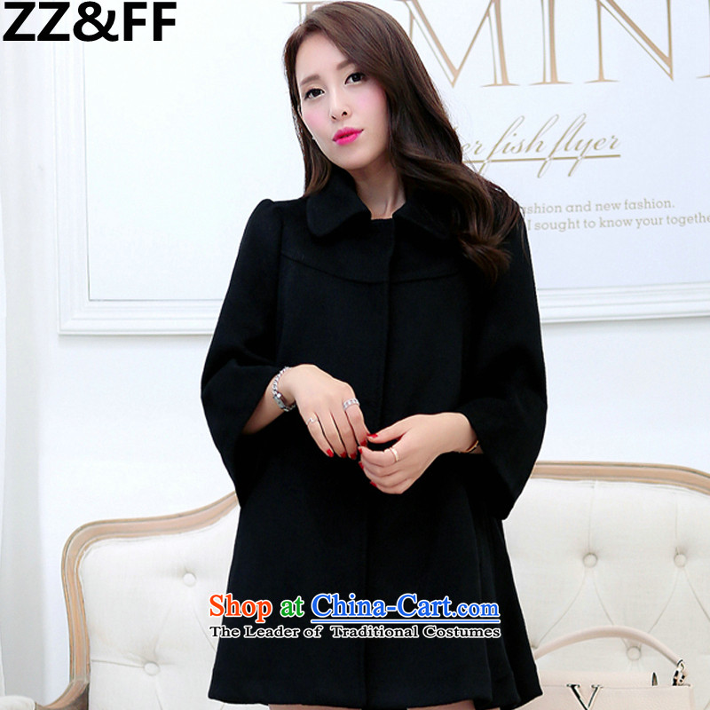 2015 Autumn and winter Zz&ff new Korean female jacket thick mm loose to intensify in the plush a wool coat elegant black M