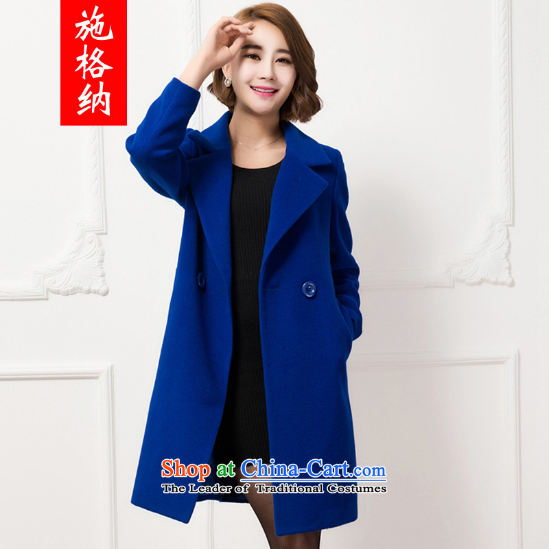 Rate of the�14 autumn and winter new Korean cashmere overcoat to xl thick MM long suit in a coat female wool 88107 blue燣