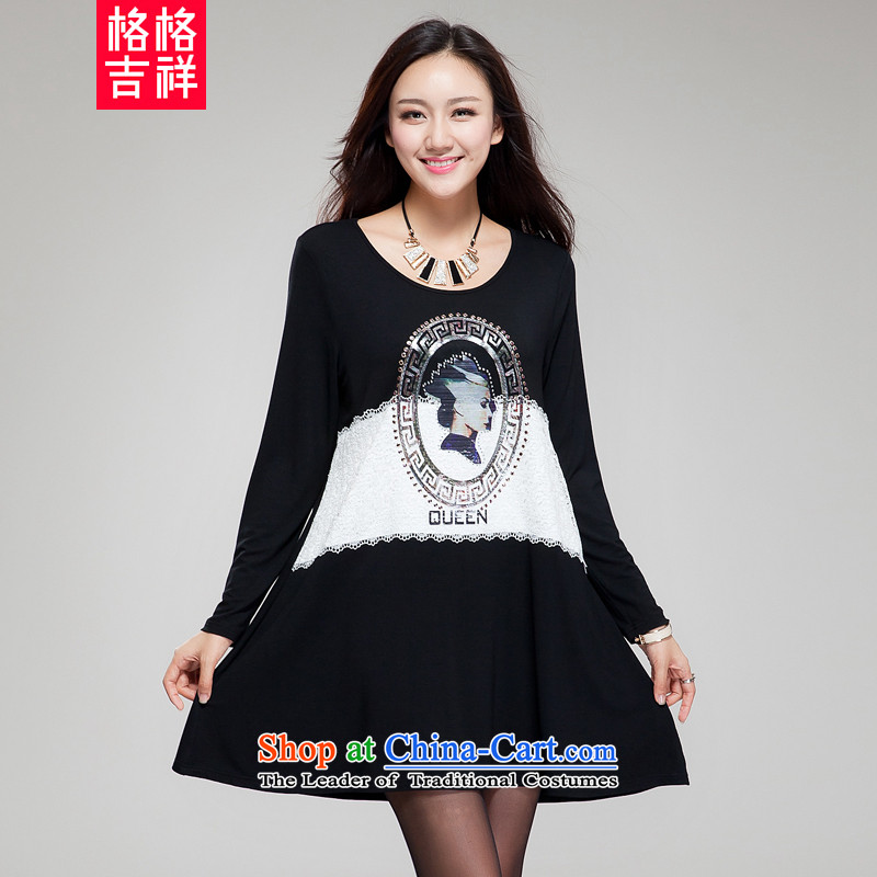 The interpolator auspicious 2015 XL women with new expertise autumn MM THIN knocked color graphics stitching retro stamp ironing drilling very casual dress SM25 black 3XL(170 catty-190 catty through)