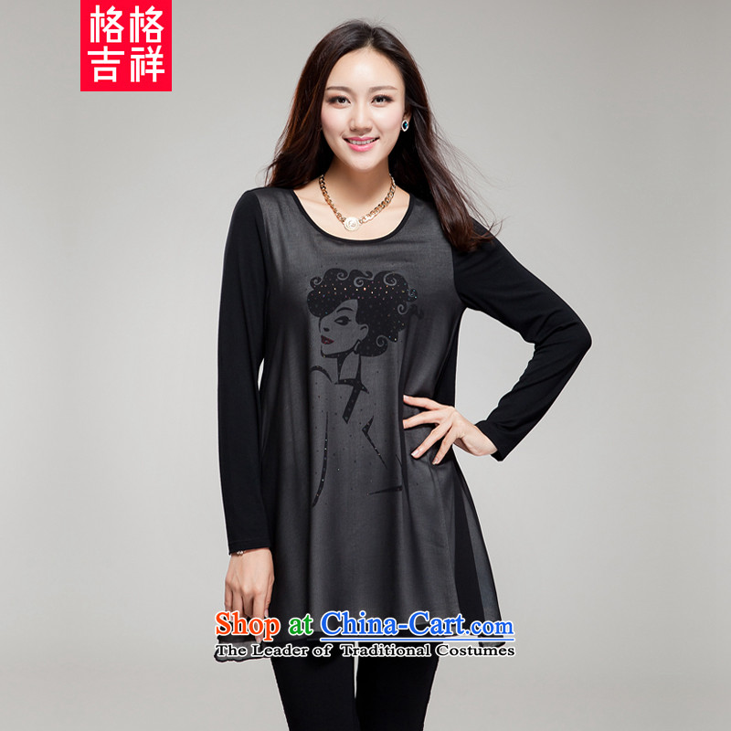 The interpolator auspicious xl women 2015 Autumn new Korean version of fat mm thick video thin round-neck collar stamp ironing drill very casual dress SM19 black XL(131 catty-150 catty through)