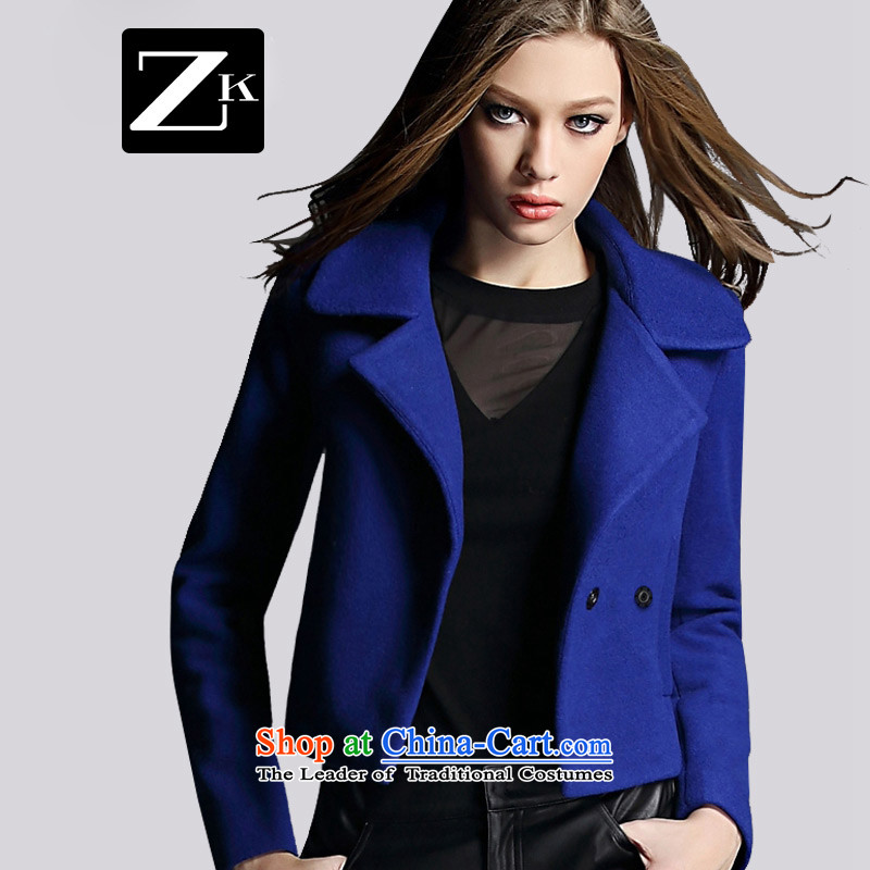 Zk Western women?2015 Fall_Winter Collections of new small wind short of incense? jacket coat of female hair? a wool coat blue?S