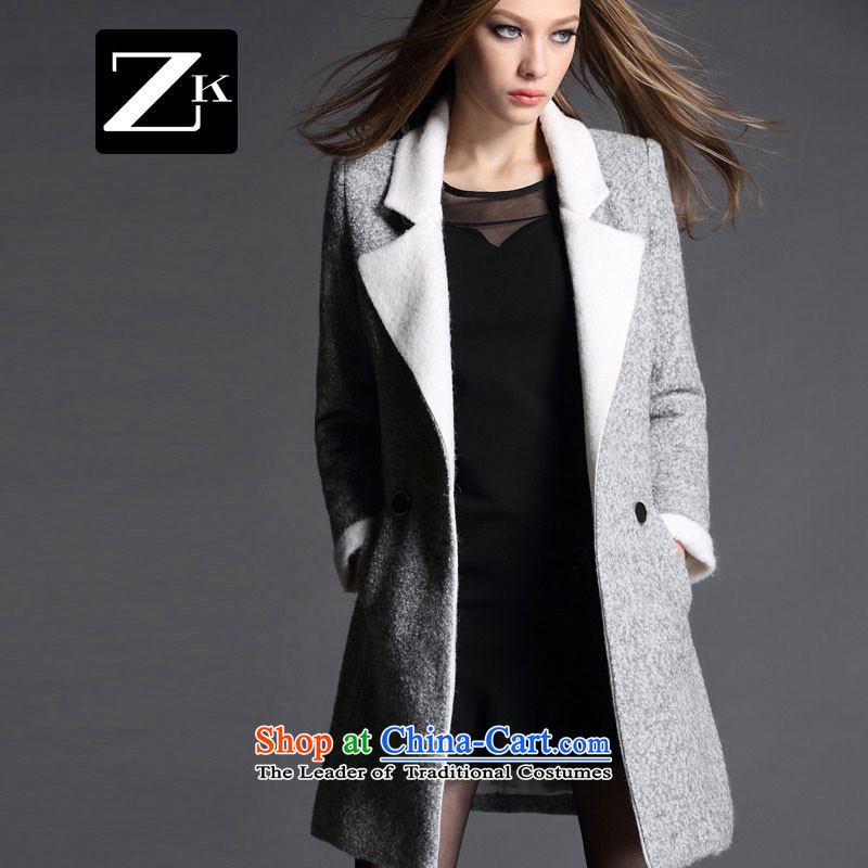 Zk Western women2015 Fall_Winter Collections of new small-wind jacket girl in gross? long wool a wool coat coats carbonM?