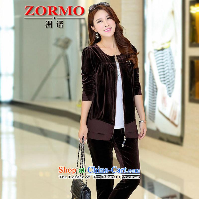 燭he Korean version of the female ZORMO autumn and winter, thick mm to xl velvet Sports _ Leisure package chocolate燲XXL 145-165 catty
