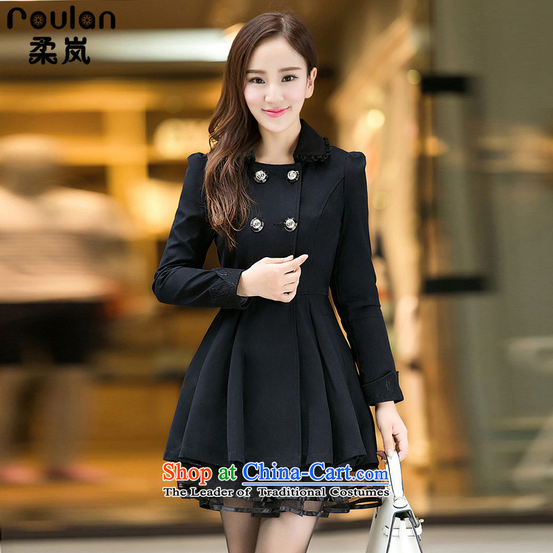 Sophie 6XL sponsors to intensify the thick MM Korean Code women 2015 autumn and winter for women in the new long lace edge wind jacket 8199 Black XL