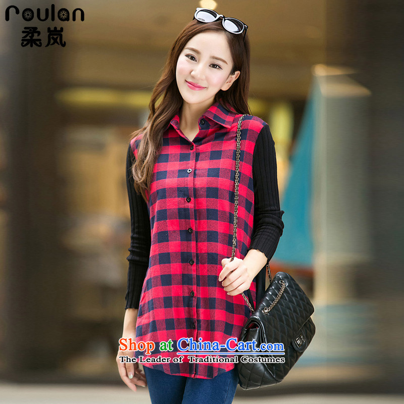 Sophie sponsors to intensify the thick MM Korean Code women 2015 autumn and winter for women new graphics thin grid 5XL shirts 3739th Red 4XL