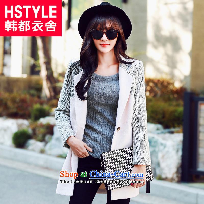 Korea has the Korean version of the Dag Hammarskj鰈d yi 2015 winter clothing decorated new women's body graphics thin stitching OZ3295 jacket?_2_ gross燱hite燤