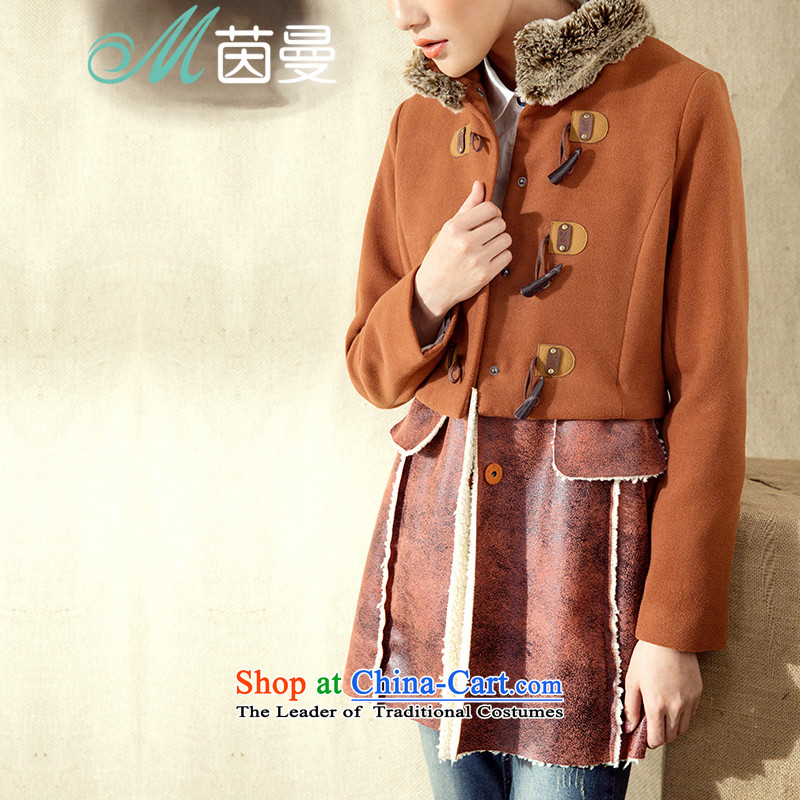Athena Chu Cayman2014 winter clothing new arts skin stitched wool collar in long jacket (8443200723)?- Warm OrangeS