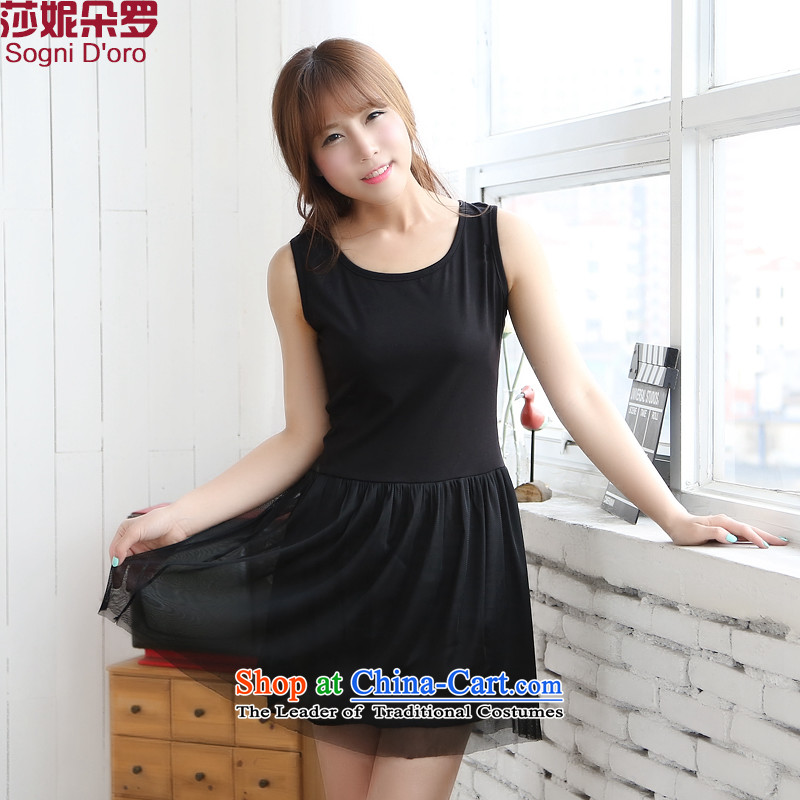 For a limited time _clearance as soon as possible a genuine xl female thick mm summer new round-neck collar video thin 2014 Sau San gauze vest dresses5XL 6722 Black
