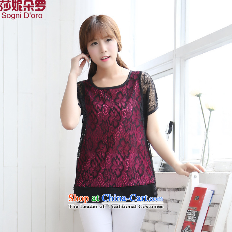 For a limited time (Stock Code: Intensify female thick mm summer new 2014 round-neck collar lace video thin coat 6723 t-shirts dark red2XL