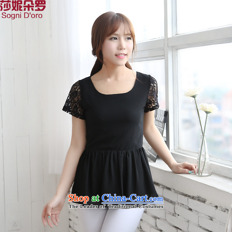 To increase the number of women with thick mm summer new 2014 lace video thin omelet before shirt T-shirt 9,895 from black6XL T-Shirt