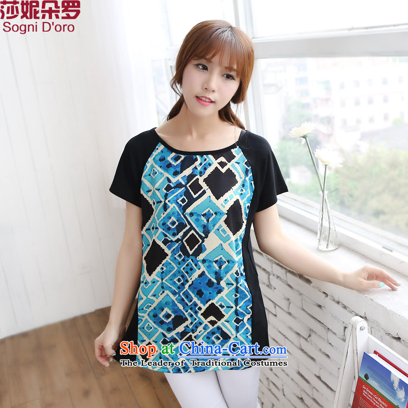 Offer genuine to increase women's code 2014 Summer mm thick simple round-neck collar short-sleeved video thin loose stamp t-shirt 6,726 light blue聽6XL