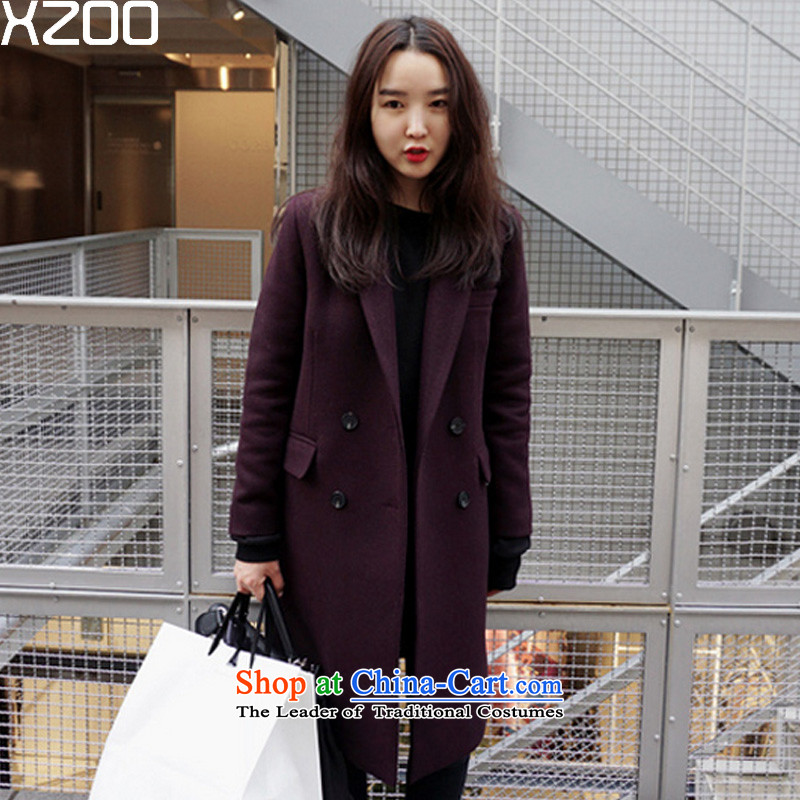 The Korean version of winter thickened XZOO2015 medium to long term_?? coats girl child wool coat�02-5燿eep purple燬
