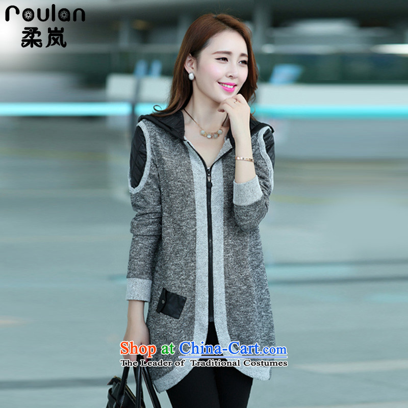 Sophie sponsors to intensify the code of ladies' knitted cardigan 2015 autumn and winter new women's thick MM female Korean Wind Jacket Color Plane Collision light sweater female 827 Gray 4XL