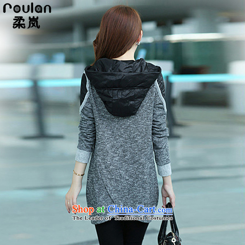 Sophie sponsors to intensify the code of ladies' knitted cardigan 2015 autumn and winter new women's thick MM female Korean Wind Jacket Color Plane Collision light sweater female 827 gray 4XL, Sophie (ROULAN included) , , , shopping on the Internet