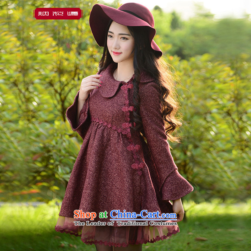 Fireworks Hot Winter 2015 new women's European root yarn stitching temperament gross? I should be grateful if you would have decreased by red jacket燲L spot