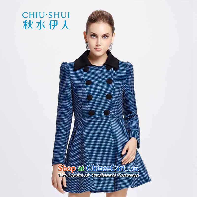 Chaplain who winter new women's Plaid double-bubble cuff聽1341S122045聽blue coat gross聽170_XL?