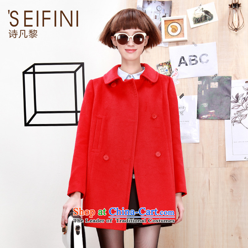 Poetry where 2015 autumn and winter Lai new Korean small incense wind gross?? jacket coat female gross 6391117740 red聽S