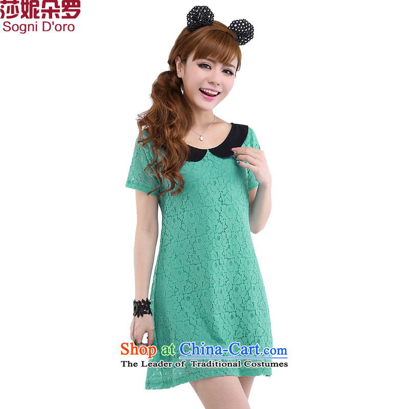 The latte macchiato, Shani to increase women's summer code won 200 catties thick, Hin thin, thick sister lace dresses 6220 Green 6XL limited time