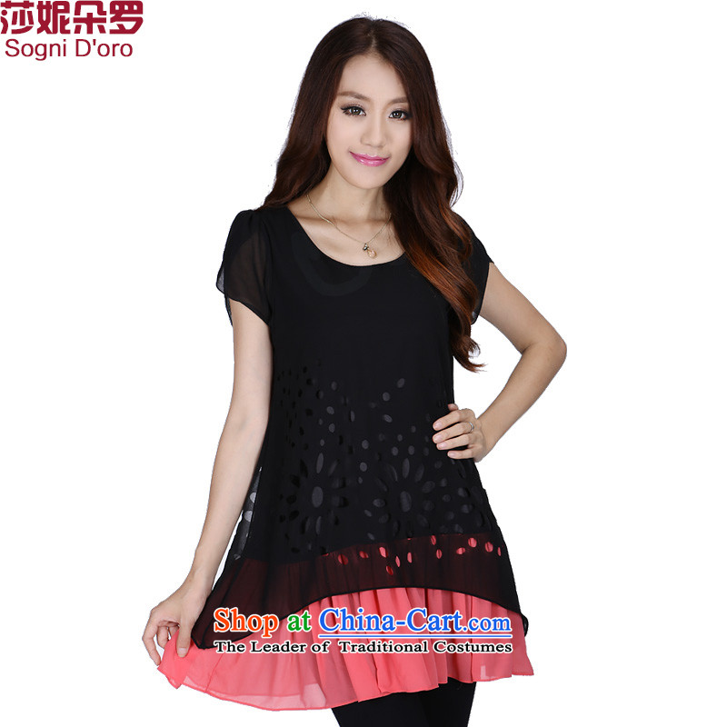 Special offers extra-thick mm2014 Women's Summer Korean chiffon shirt engraving graphics thin loose T-shirt shirt ¥62.51 Black 2XL