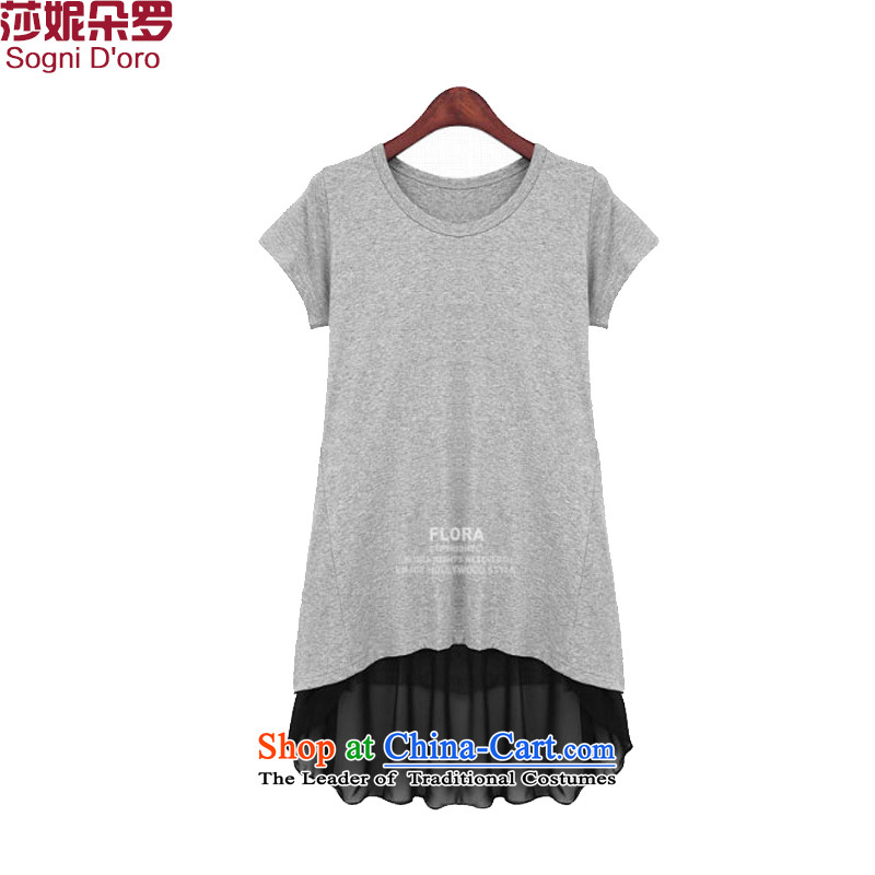 Shani flower, thick girls' Graphics thin, thick mm summer loose video thin large short-sleeved T-shirts female 9 402 light gray聽5XL