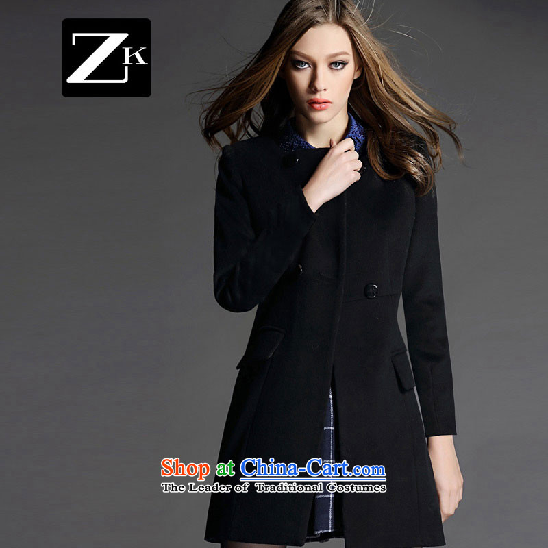 Zk Western women 2015 Fall_Winter Collections of new small-wind a wool coat in the wool long a wool coat gross? female black S Jacket