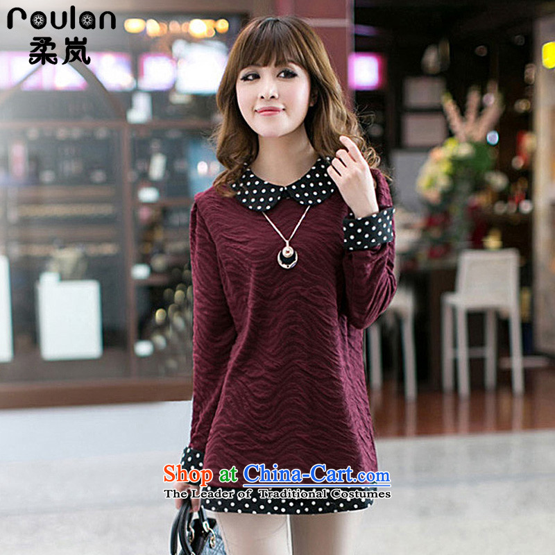 Sophie sponsors to XL 2015 MM thick autumn and winter for women new women's wave knocked color forming the point of long-sleeved T-shirt,爓ine red 8011燲L