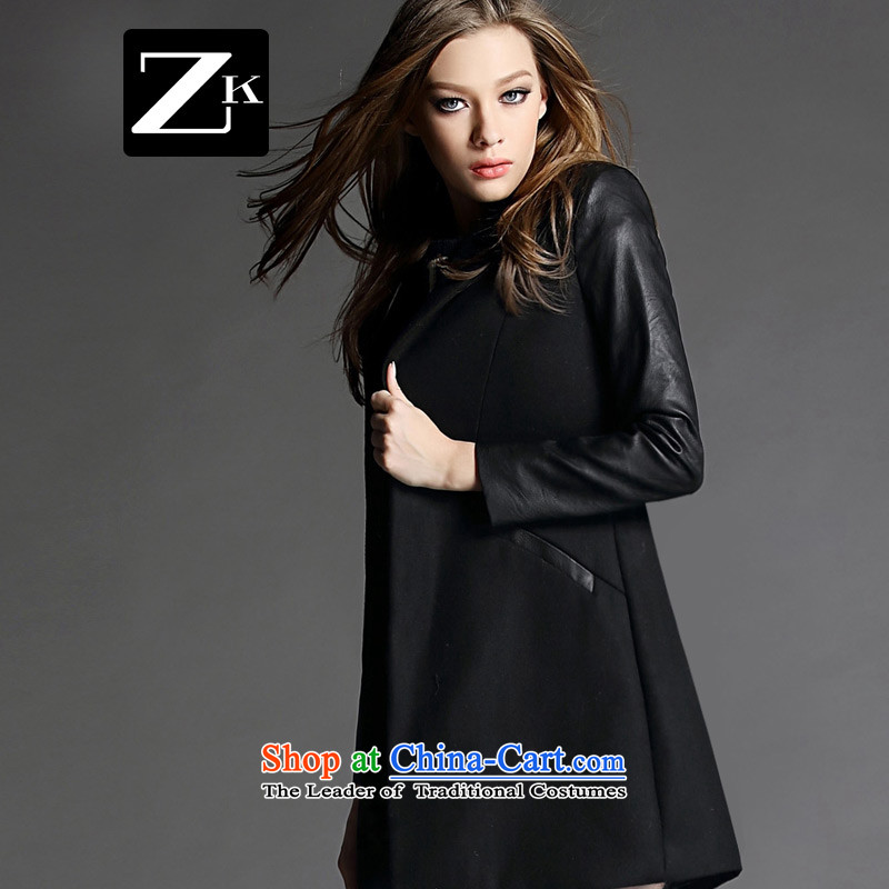 Zk Western women聽2015 Fall_Winter Collections New Gross Gross Jacket coat?? in long woolen coat a wool coat black聽M