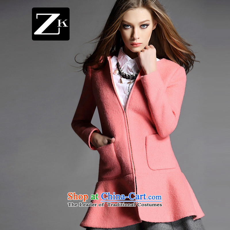 Zk Western women 2015 Fall/Winter Collections of new small-wind jacket girl in gross? long coats gross? a wool coat water RED M